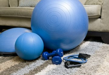 Gym equipment used during a workout routine at home.