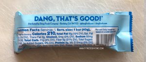 Dang Bar Almond Vanilla Nutrition